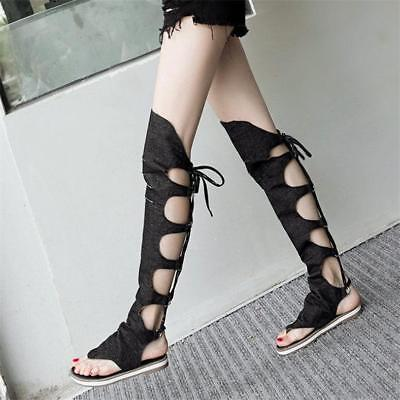 Women Lace Up Strappy Thigh High Gladiator Sandals Over Knee Thongs Summer Boots | eBay