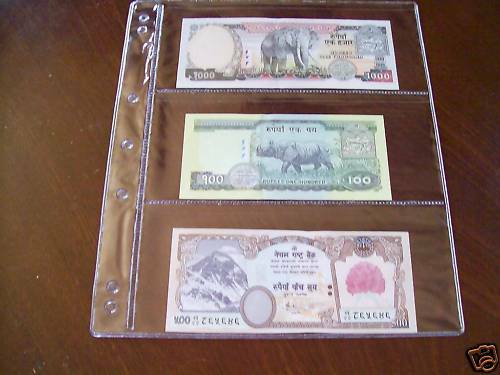 VST BANKNOTE ALBUM PAGES Pack of 5 x 3 POCKET PAGES
