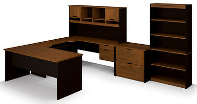 Bestar Innova Office Desk With Lateral File And Bookcase In Tuscany Brown Black 63753031820 Ebay