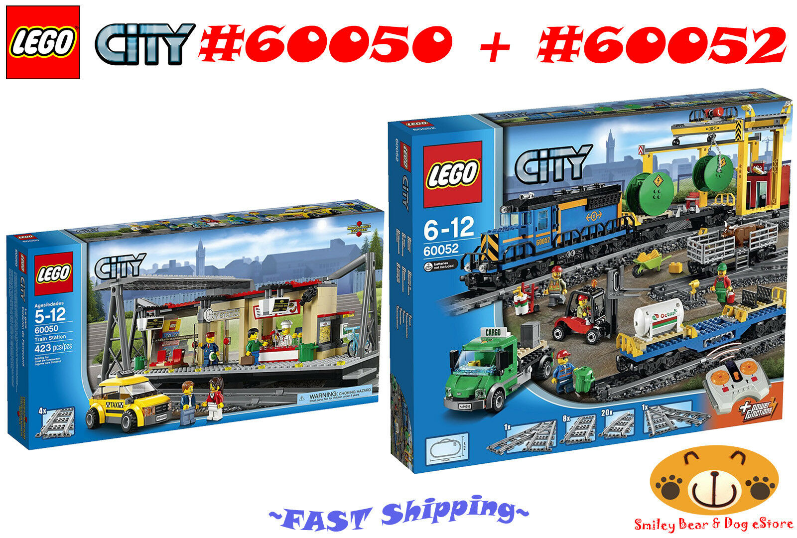 LEGO Bundle Set Train Station  60050 + Cargo Train  60052 *NEW*
