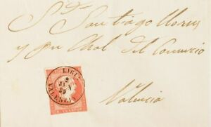 Spanien Gemeinde Valenciana. Geschichte Postal. Umschlag 48. 1859. 4 Türtapete