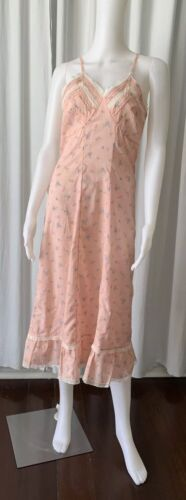Vintage 40s Peignoir Printed Pink Cotton Made In I
