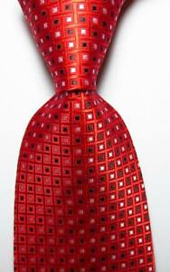 New-Classic-Checks-Red-Black-White-JACQUARD-WOVEN-100-Silk-Men-039-s-Tie-Necktie
