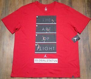 c89c3b8b683d NIKE MEN AIR JORDAN ART OF FLIGHT RED BLACK BRED RETRO SHIRT 905931 ...