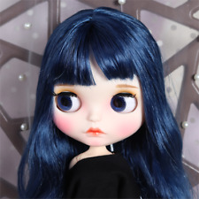 Blythe Nude Doll from Factory Dark Blue Long Curly Hair With Make-up Eyebrow