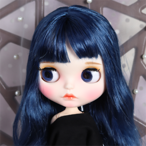 Blythe-Nude-Doll-from-Factory-Dark-Blue-Long-Curly-Hair-With-Make-up-Eyebrow