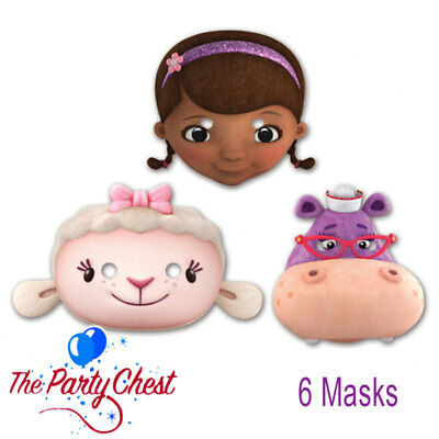 6 DOC McSTUFFINS CHARACTER FACE MASKS Girls Birthday Fun Party Favour Masks 6911 13051431761 | eBay