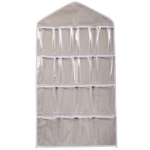 80 Pockets Clear Hanging Bag Socks Bra Underwear Rack Hanger Storage Organizer