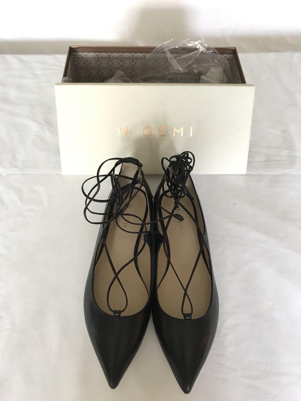 il miglior servizio post-vendita M Gemi Brezza nero Leather Lace Up Flats Aquazzura Christy Christy Christy Dupes  offerta speciale