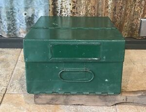 "Vintage Metal Folding File Box 12"" x 9"" x 6"" painted green"