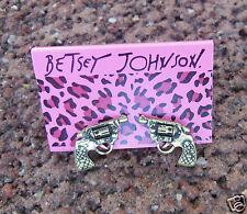 Betsey Johnson Pistol Gun 2nd Amendment Stud Earrings Set Shipping Tracking FREE