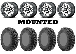 Kit 4 EFX MotoVator Tires 32x9.5-15 on MSA M21 Lok Beadlock Charcoal Tint POL