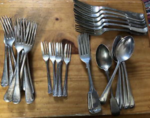 Joblot-30-pieces-Antique-Silver-Plate-Cutlery-forks-spoons-vintage-1-6kg-retro