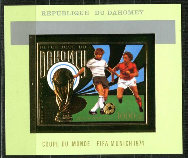 Benin Dahomey 1974 Munich Football Gold Foil Or Johan Cruijff Mi Bloc 38 Rare