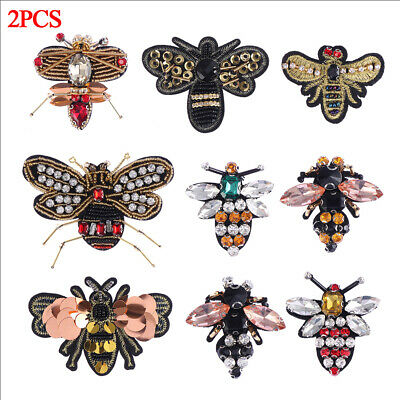 Crystal Handmade Rhinestones Sequin Patches Sew 3D Patch Beading Beaded Bee Gift