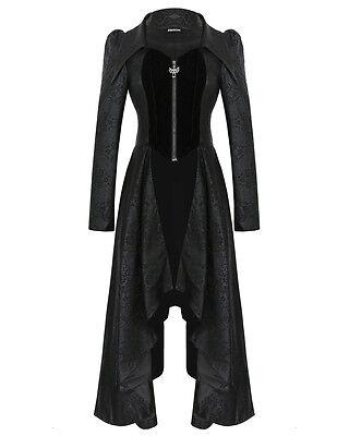 Dark In Love Womens Gothic Jacket Coat Long Black Damask Steampunk Corset VTG