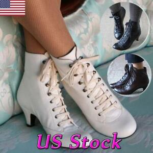 Women-Stiletto-Kitten-Heel-Ankle-Boots-Victorian-Leather-Lace-up-Casual-Shoes-US