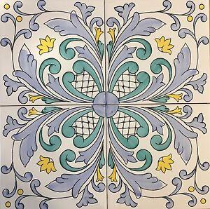 Piastrelle 20x20 decorate a mano ceramica vietri consegna for Piastrelle per salone