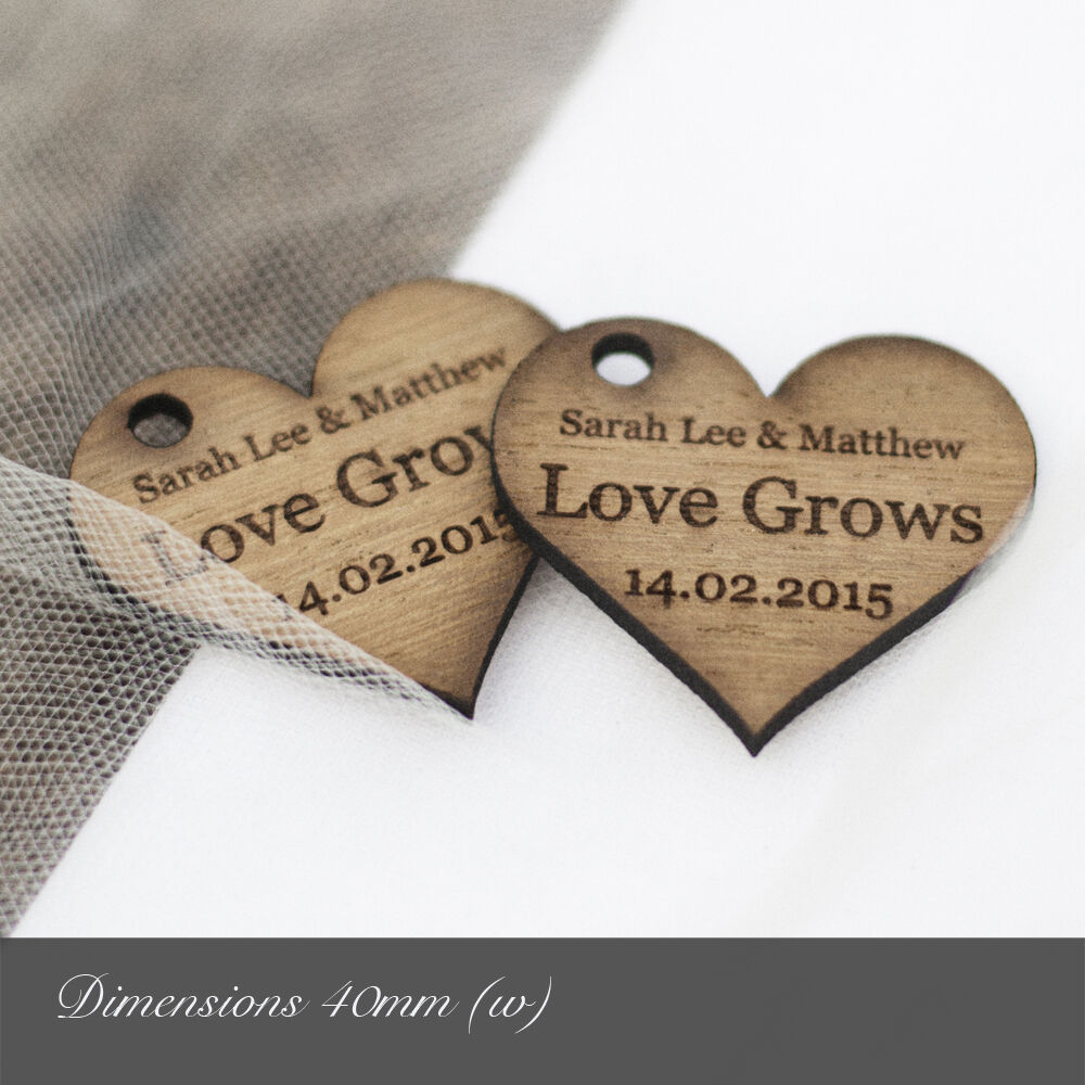 Personalised 40mm Wooden Heart Decorations   Favours. Rustic   Vintage Weddings.