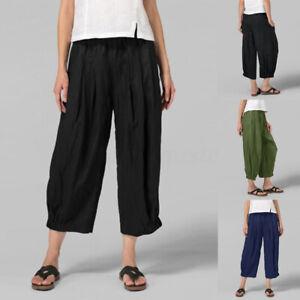 ZANZEA-Femme-Pantalon-Decontracte-lache-Poches-Taille-elastique-Jambe-Large-Plus
