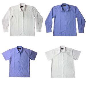e9077d2adb5 Girls School Blouse Shirt White Pale Blue Long Short Sleeve Ages 2 ...