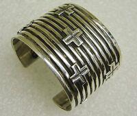 Navajo Sterling Silver Cross Cuff Bracelet Signed A. Cadman N54-t