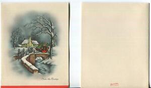 VINTAGE CHRISTMAS EVE NIGHT VICTORIAN SNOW STONE BRIDGE STREAM HORSE COACH CARD
