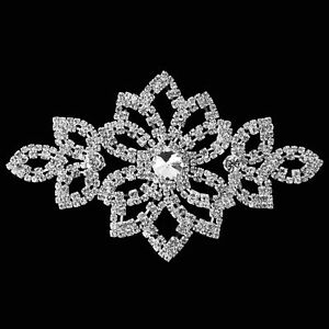 Bridal Trim Silver Diamante Motif Sew Iron On Crystal Applique Patch Party Dress