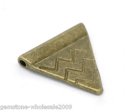 Wholesale Lots Bronze Tone Triangle Spacer Beads 14x14mm