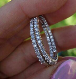 2-0Ct-Round-Cut-VVS1-Moissanite-Diamond-Huggie-Hoop-Earrings-14k-White-Gold-Over