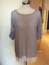 Latte Top Size 16 BNWT Beige Cream Layered 3/4 Sleeves RRP £140 NOW £63