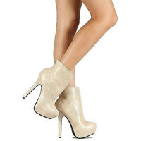 Dollhouse Ivory Lizard Ankle Boots Stiletto Heel Women's Shoes Us Sz.6.5