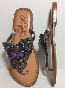 NWOT-Naughty-Monkey-Lilac-Dreams-Flat-Sandal-Thong-Jeweled-Leather-Silver-Sz-6