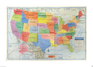 USA United States Map Poster Size Wall Decoration Large Back To School Sale!