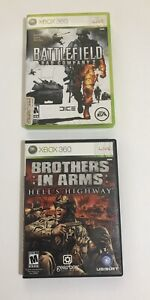 Lot of 2 Xbox 360 Live Battlefield Bad Company 2 & Brothers In Arms Hells Hwy