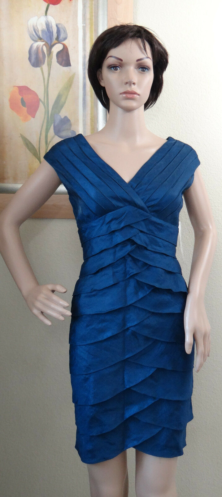 23ab6341b0152c ... NWT ADRIANNA PAPELL LAP bluee tiered tiered tiered ruffle layer  sleeveless party dress, ...