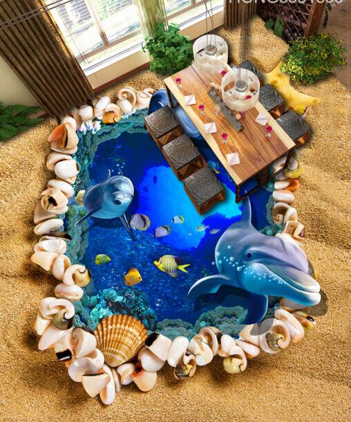 3D spiaggia delfino Pavimento Foto Wallpaper Murales Muro Stampa Decalcomania