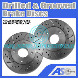 For Impreza 2.5 TURBO WRX 11//07on Drilled /& Grooved FRONT Brake Discs Rotors
