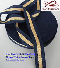30mm cotton Tape Canvas Blue Base Golden stripe webbing Bunting strap x 1 yard