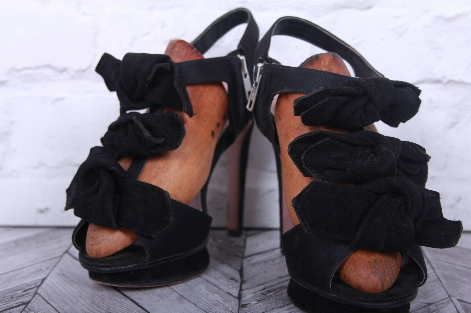 FRENCH CONNECTION Black Suede Leather RRP Stiletto Heels Women's Shoe RRP Leather acedde