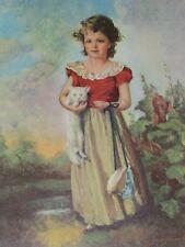 """Chums"" by Jane Freeman Little Girl Holding Kitten & Bonnet Vintage 1960's Print"