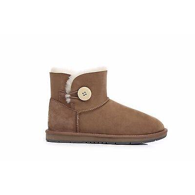 UGG Women Mini Button Ankle Boots - Premium Australian Sheepskin Water Resistant