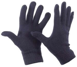 Wool-Fine-Knitted-Gloves-NAVY-Thermal-Knit-Full-Finger-Fits-Most-Warm-Winter