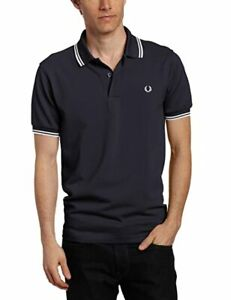 FRED PERRY TWIN TIPPED SHIRT POLO SHIRT NAVY//WHITE  M1200 471 NEW WITH TAGS