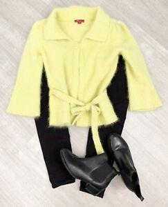 Monsoon-Green-Lime-Cardigan-Sz-12-Angora-Mix-Long-Sleeve-Collar-Button
