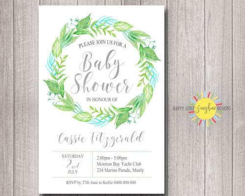 Custom Printable Baby Shower invitation Neutral Floral Green Blue Wreath Silver