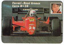1985 portugués De Bolsillo Calendario F1 Ferrari Equipo conductor Rene Arnoux coche # 28