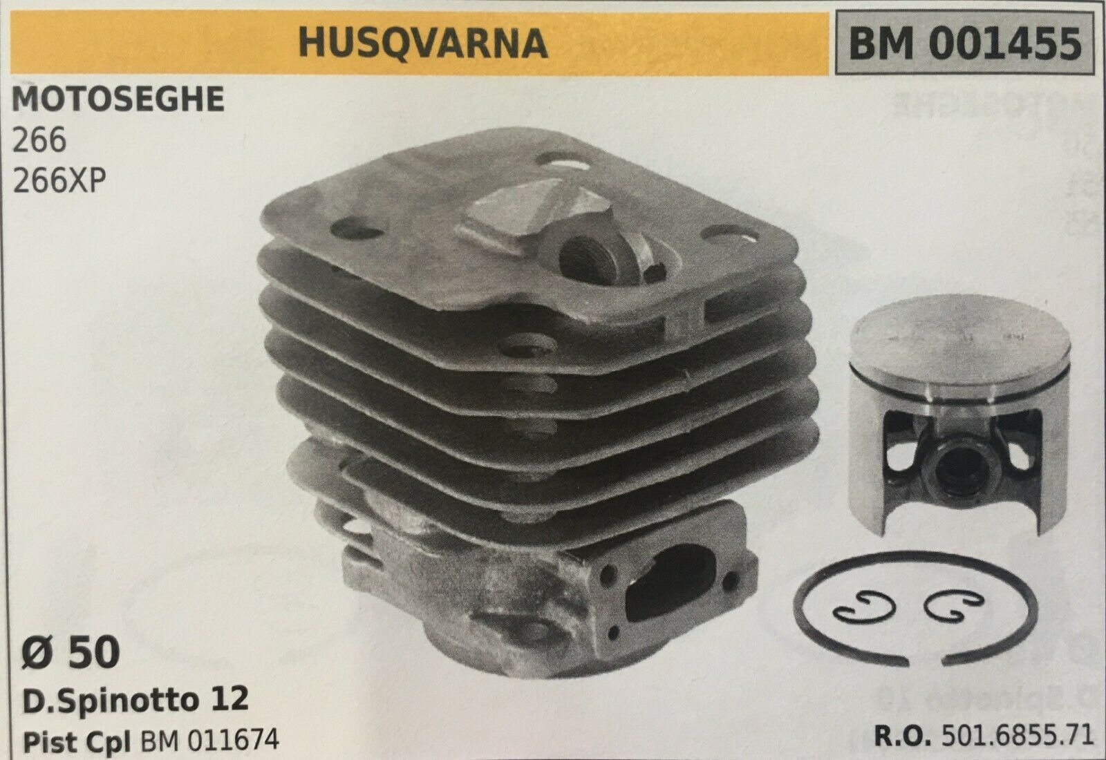 Zylinder Komplett mit Kolben und Segmente Brumar BM001455 Husqvarna