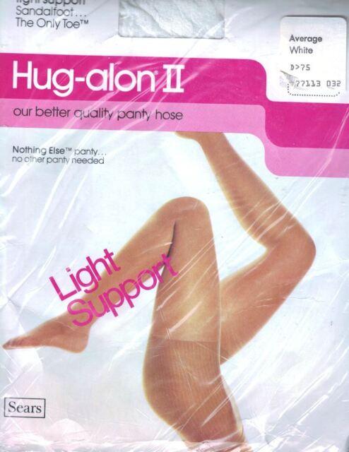 Sears Hug-alon II Pantyhose Average White Light Support w the Nothing Else Panty
