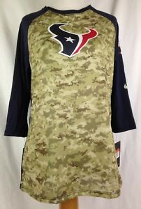 separation shoes 1574e 0a61b Details about Nike Houston Texans Womens Shirt L Size Football Camo Salute  AFC South NFL New